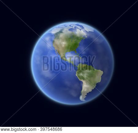 Earth Planet Globe With World Map, Vector Space, Astronomy, Travel And Geography. Blue Sphere With A
