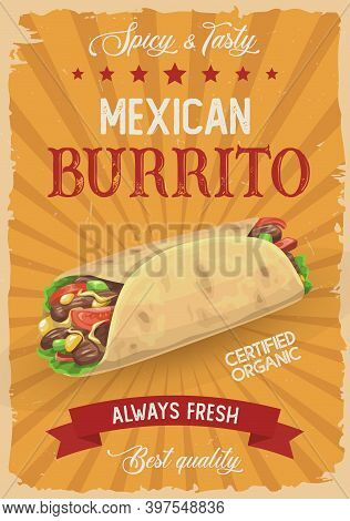 Mexican Burrito Vector Retro Poster, Hot Roll, Doner Kebab Or Shawarma With Salad And Meat, Vintage