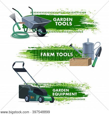 Farming And Gardening Tools, Garden And Farm Equipment, Vector Banners. Agriculture Farm And Garden