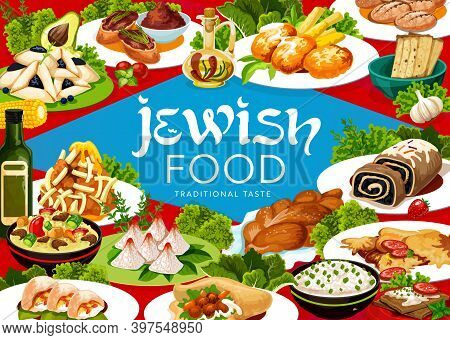 Jewish Cuisine Meals Vector Banner. Forshmak, Lamb With Couscous, And Falafel, Poppy Seed Roll, Chal