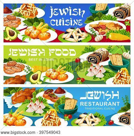 Jewish Cuisine Restaurant Dishes Banners. Liver Pate, Potato Latkes And Fish Balls With Garnish, Ham