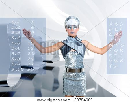 futuristic children girl in silver touch finger maths and abc at future school with holographic screen [photo-illustration]
