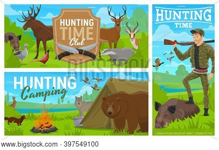 Hunting Camping, Club Vector Banners. Hunter With Rifle And Equipment Posing With Killed Boar Trophy