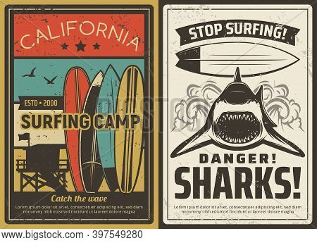 Surfing Camp And Shark Danger Warning Retro Poster. Surfboards And Ocean Safety Lifeguard Observatio