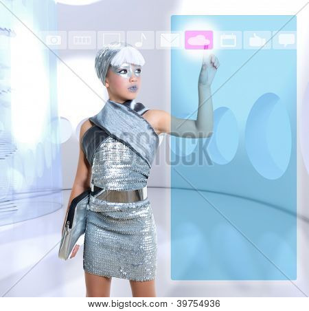 futuristic children girl in silver touch finger icloud icon glass holographic screen [photo-illustration]