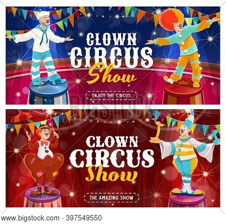 Circus Clowns Vector Flyer. Big Top Tent Performers, Cartoon Funny Carnival Funsters And Jesters In