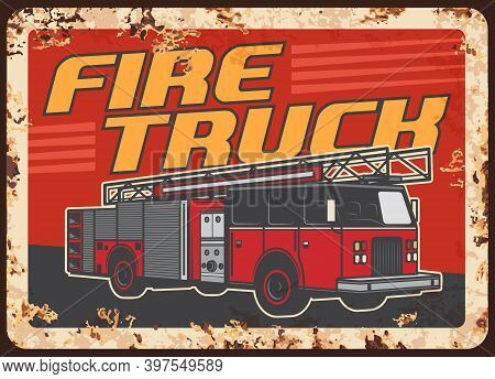 Fire Truck With Extension Ladder And Water Tender. Fire Department, Emergency Situations Service Veh