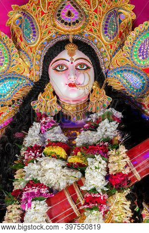 Face Of Goddess Saraswati At Kolkata, West Bengal, India. Saraswati Is Hindu Goddess.