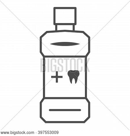 Mouthwash Thin Line Icon, International Dentist Day Concept, Oral Antibacterial Liquid Sign On White