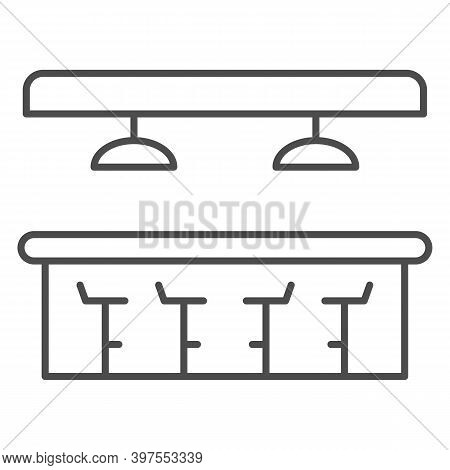 Bar Counter Thin Line Icon, Bartenders Day Concept, Interior Of Bar Or Pub Sign On White Background,