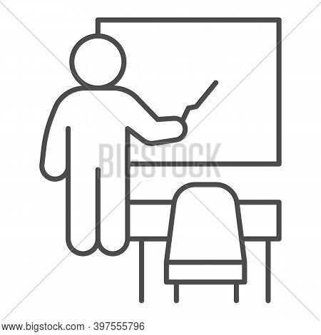 Teacher Near Blackboard And Desk Thin Line Icon, School Concept, Teacher With Pointer And Board Sign
