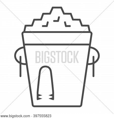 Ice Bucket And Tongs Thin Line Icon, Bartenders Day Concept, Metal Bucket With Ice Sign On White Bac