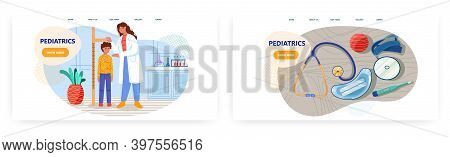 Pediatric Doctor Uses Stadiometer To Measure Height Of Young Boy Patient. Medical Concept Vector Ill