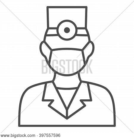 Dentist Thin Line Icon, International Dentist Day Concept, Doctor In Face Mask Sign On White Backgro