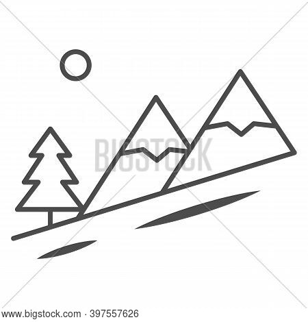 Winter Mountain Landscape Thin Line Icon, World Snowboard Day Concept, Descent From The Mountain Sig