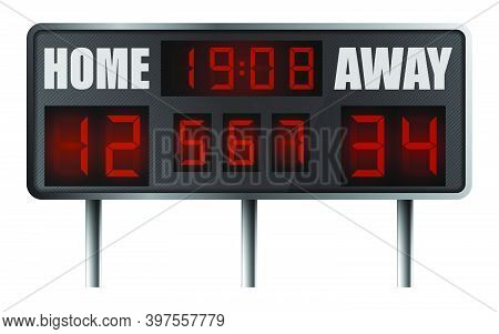 Realistic Electronic Sports Scoreboard. Score On Board During Match On Field. Team Sports. Active Li