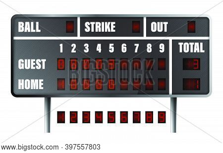 Realistic Baseball Scoreboard. Score On Board During Match On Field. Team Sports. Active Lifestyle.