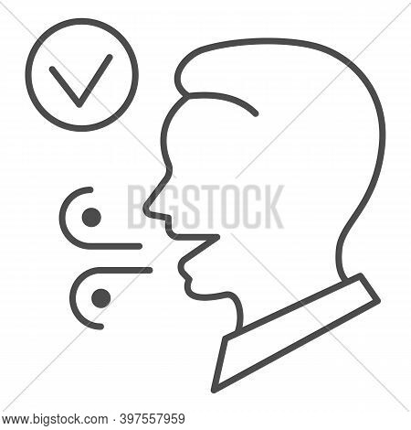 Fresh Breath Thin Line Icon, International Dentist Day Concept, Male With Healthy Fresh Mouth Breath