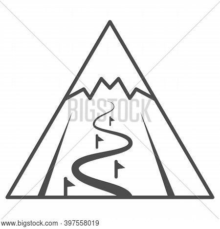 Mountain Slope For Descent Thin Line Icon, World Snowboard Day Concept, Ski Track Sign On White Back