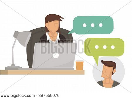 Businesswoman Speaking On Video Call With Colleague, Client Or Boss. Concept Of Online Briefing Or D