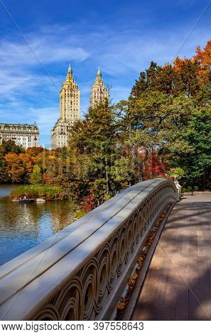 New York City Manhattan Central Park panorama in Autumn with colorful trees and skyscrapers