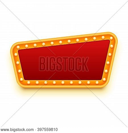 Casino Or Theater Signboard. Red And Gold Colors. Marquee Lights. Vector Illustration For Banner, Po