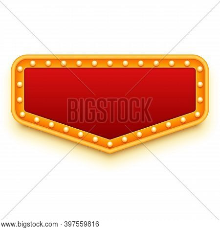 Casino Or Theater Signboard. Red And Gold Sign With Light Bulbs. Marquee Lights Style. Retro Design.