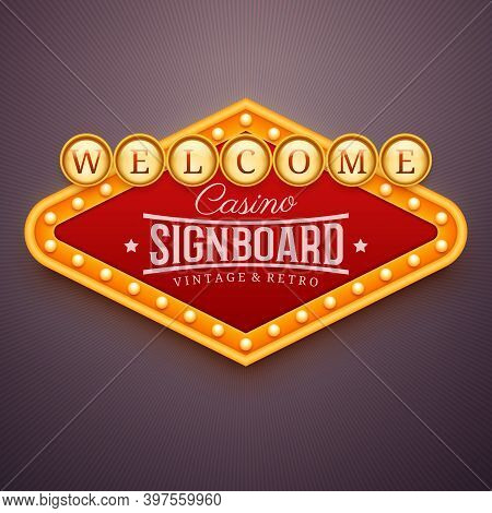 Casino Light Sign. Wall Signage With Marquee Lights. Casino, Theater, Cinema Or Club Decor. Retro Ba