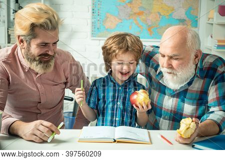 Happy Family Grandfather Father And Son Toddler Play And Learning. Father Teaching Son. Grandfather