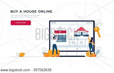 Buy A House Online Landing Page Template. Couple Buying A New Home, Touching The Button On Monitor S