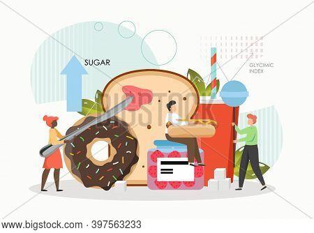 People Eating Sugar, Bread, Donut, Lollypop, Hot Dog, Flat Vector Illustration. Unhealthy High Level