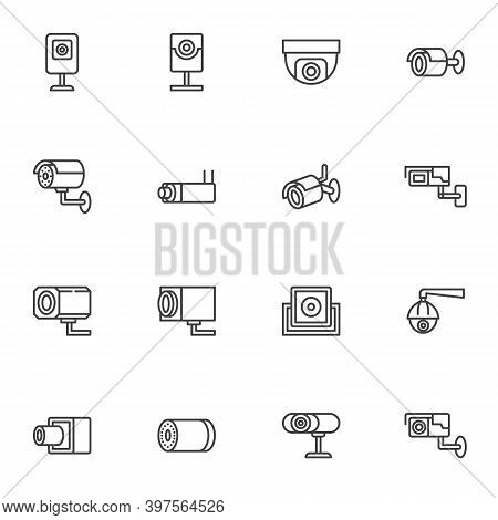 Cctv Camera Line Icons Set, Outline Vector Symbol Collection, Linear Style Pictogram Pack. Signs, Lo