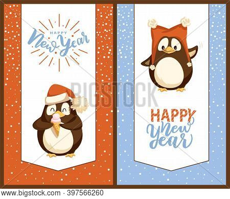 Merry Christmas Penguins Wearing Warm Clothes Vector. Animal In Santa Claus Cap Eating Ice Cream Des