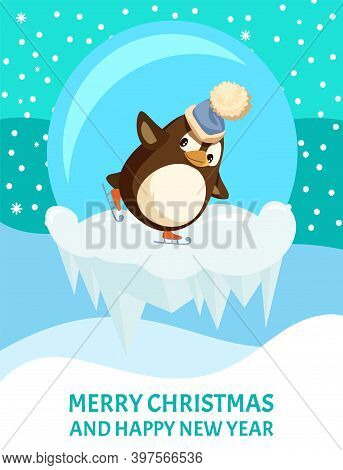 Penguin Skating On Ice Floe, Merry Christmas Card, Glass Ball And Hat With Bubo. Bird On Skates, Sno