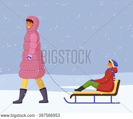 Woman In Pink Warm Down Jacket And Boots Rides Girl In Red Warm Jacket, Scarf On Sled. Snowflakes, S