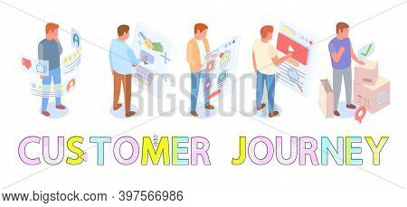 Set Of Male Characters Making Selection Of Goods In Online Store. Way From Seller To Customer, Build