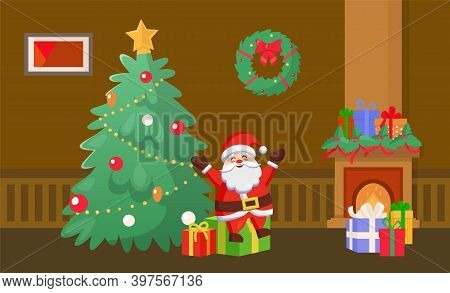 Merry Christmas Santa Claus Holding Presents By Pine Tree Vector. Home Interior Decorated With Baubl