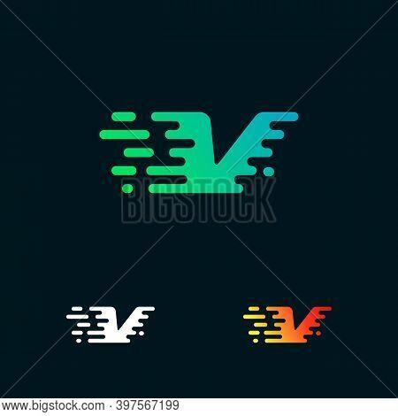 Letter V Modern Speed Shapes Logo Design Vector