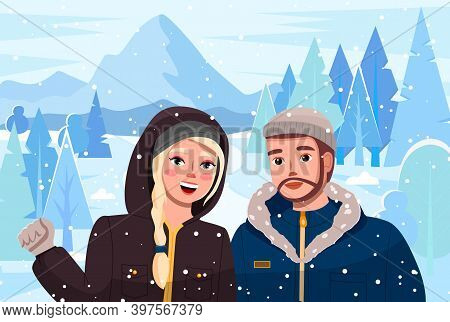 Girl With Man On Winter Suburban Landscape. Cute Couple Walk In The Forest At The Foot Of The Mounta