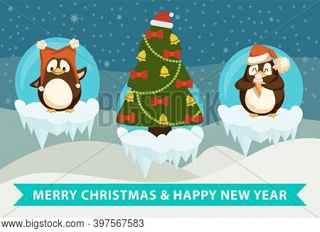 Merry Christmas And Happy New Year Winter Holiday Celebration Vector. Penguins Wearing Santa Claus H