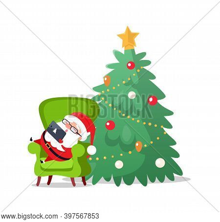 Merry Christmas Santa Claus Laying On Armchair Sleeping Vector. Tired Old Man With Laptop And Sign O