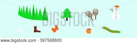 Set Of Winter Snow Cartoon Icon Design Template With Various Models. Modern Vector Illustration Isol