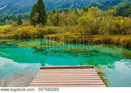 Beautiful Mountain Lake With Clear Water In Triglav National Park, Slovenia