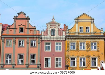 Poznan Poland - city architecture. Greater Poland province (Wielkopolska). Old colorful buildings at main square (Rynek). poster