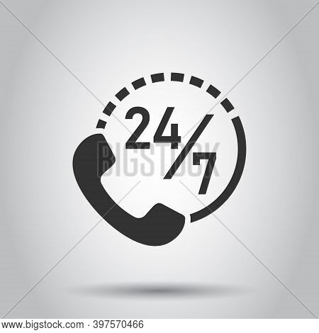 Phone Service 24 7 Icon In Flat Style. Telephone Talk Vector Illustration On White Isolated Backgrou