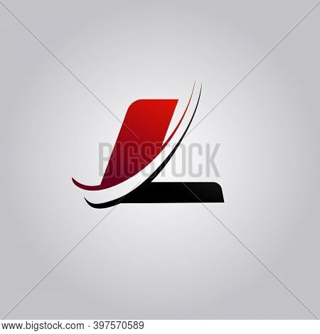 Initial L Letter Logo With Swoosh Colored Red And Black