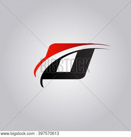 Initial O Letter Logo With Swoosh Colored Red And Black
