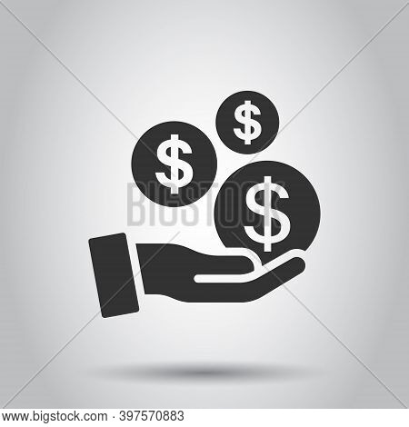 Remuneration Icon In Flat Style. Money In Hand Vector Illustration On White Isolated Background. Coi