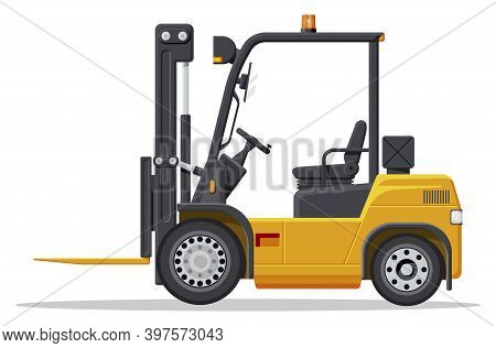 Yellow Forklift Truck Isolated On White Background. Empty Electric Uploader. Delivery, Logistic And