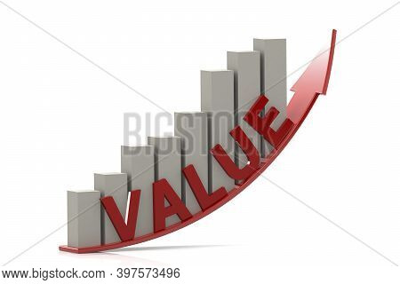 Bar Chart With Value Word And Growing Up Arrow, 3d Rendering